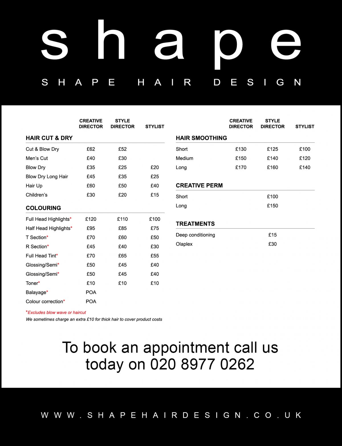 Hair Services Prices